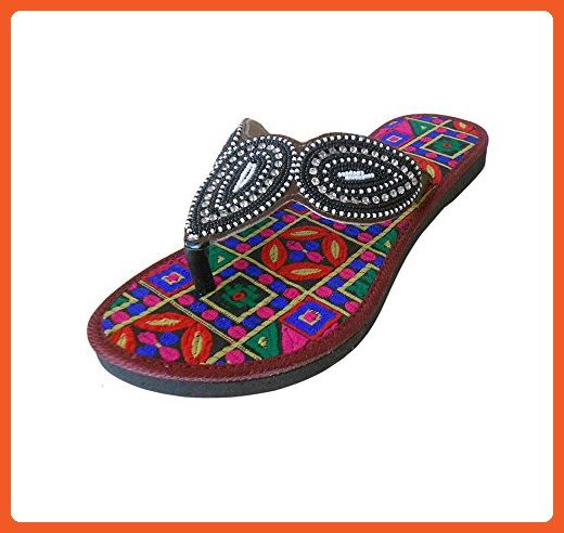 98896660bd52 Kalra Creations Women s Traditional Indian Slippers Shoes Multi-Color  Leather Ethnic Flats 10 M -