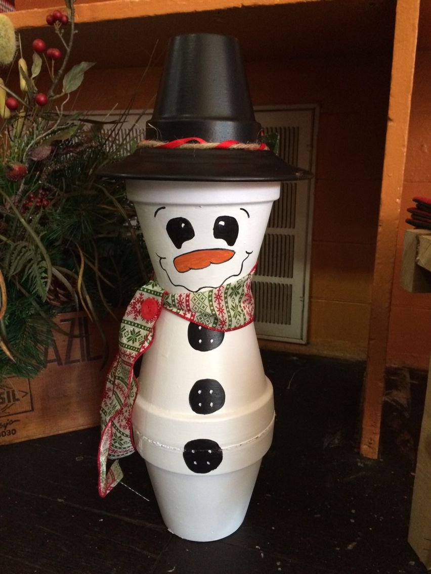 Country snowman made from clay pots my diy projects