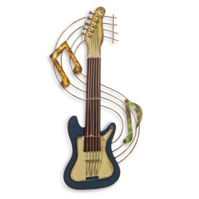 Metal Guitar Wall Art In Blue Bedbathandbeyond