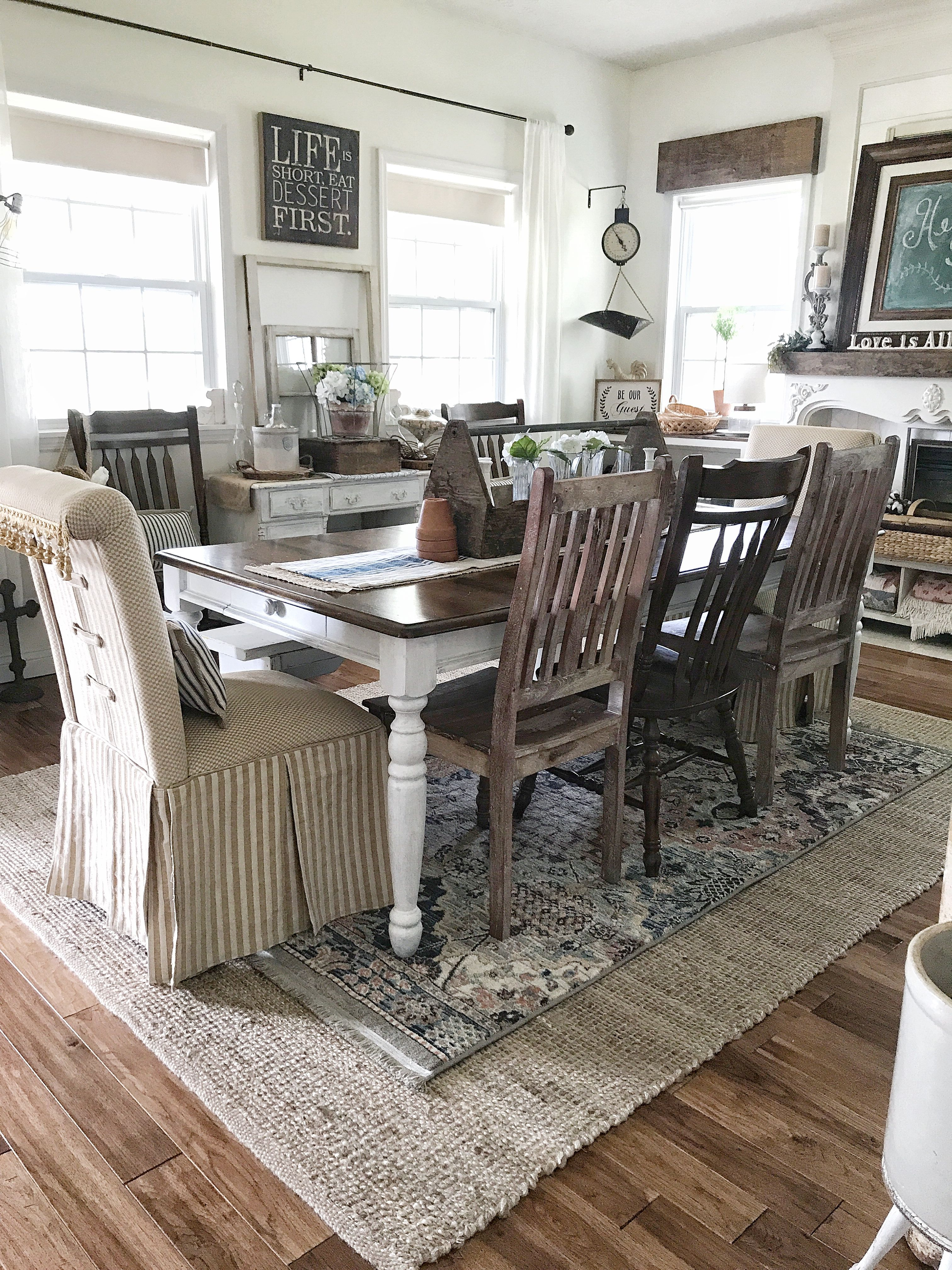 Farmhouse Style Dining Room Decor Layered Rugs And Vintage Finds