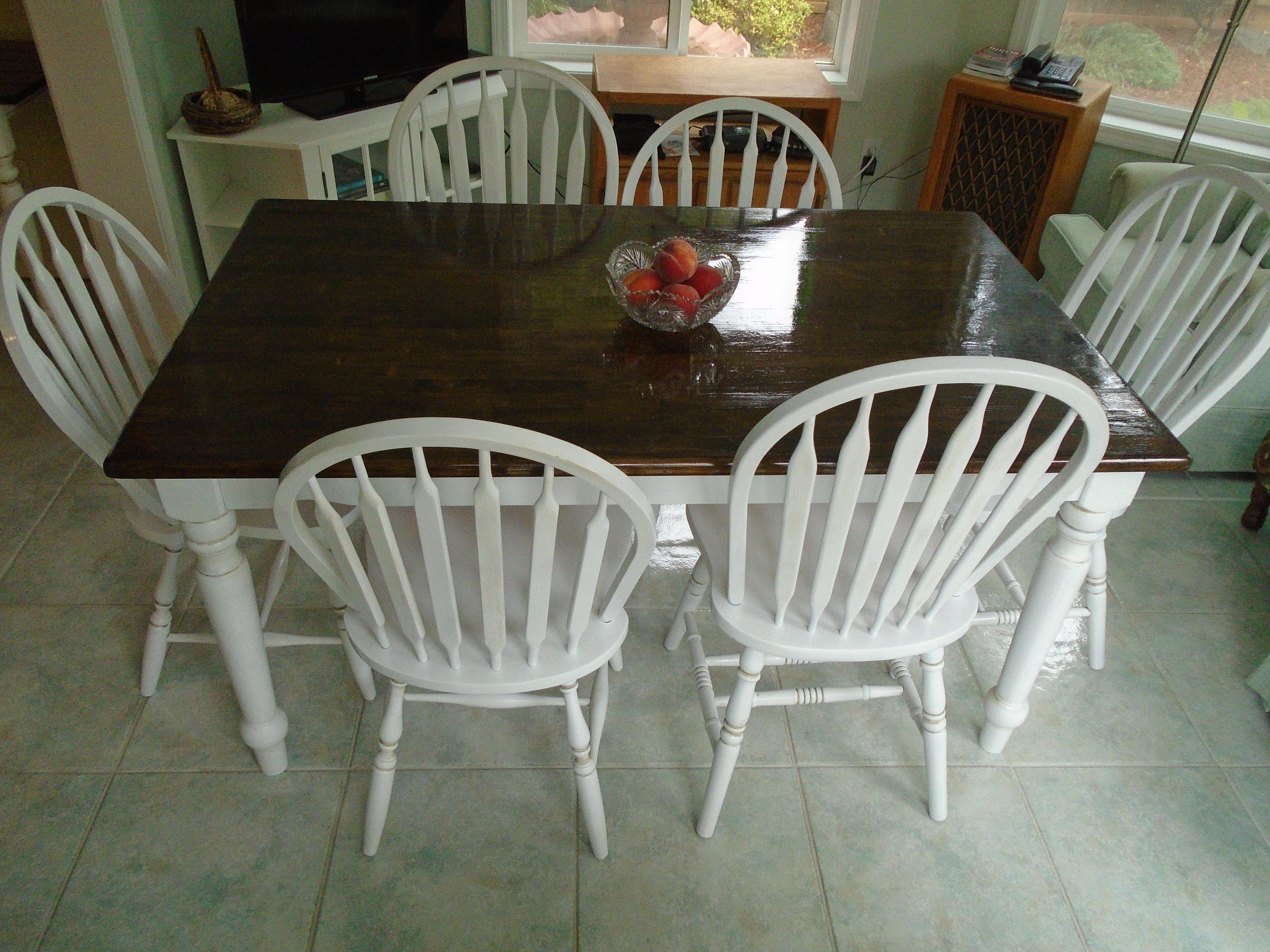 Rustic farmhouse table brown stained top, white painted