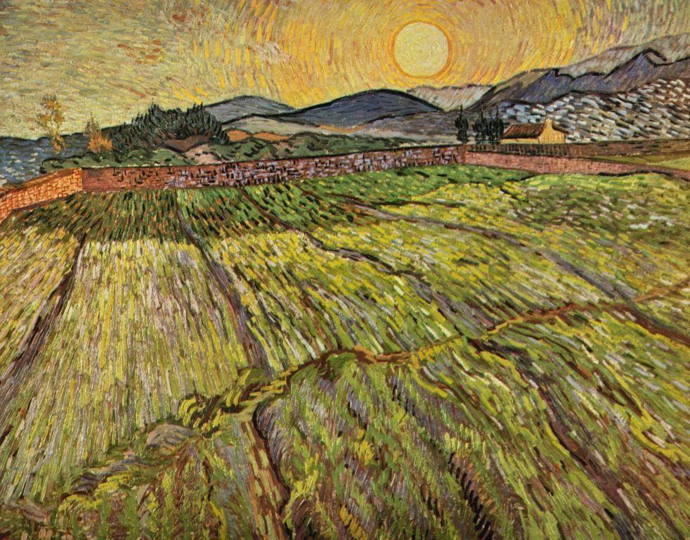 Landschaftsmalerei impressionismus  Vincent Willem van Gogh. Landschaft mit gepflügten Feldern. 1889, Öl ...