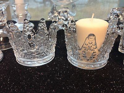 Beautiful New 12PC Princess Crown Candle Holder Clear Party Table Decorations King Queen Favors Candle Crown holder. Material is Glass. #fiestade15años