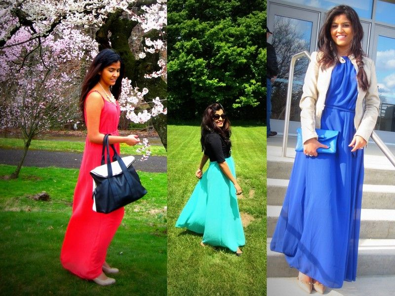 Maxi Dress:: Styling::Blue::Jacket::Crop Top http://www.thechicresearch.com/