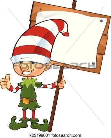 Cute Elf - Holding Wooden Sign View Large Clip Art Graphic