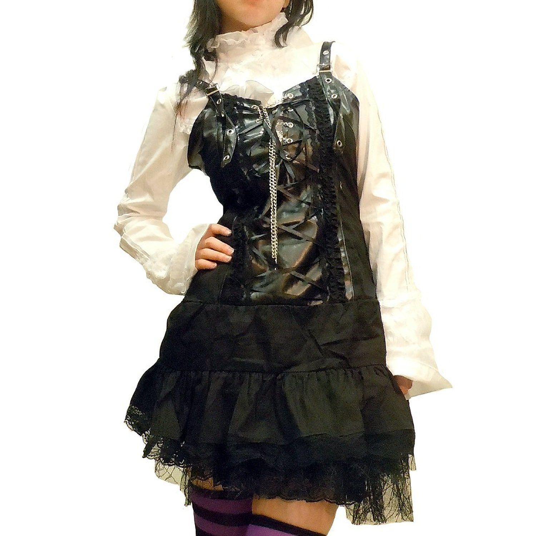 Amazon.co.jp: パンク ゴスロリ ボンテージ フリルワンピース 66-7073-Black: 服&ファッション小物通販