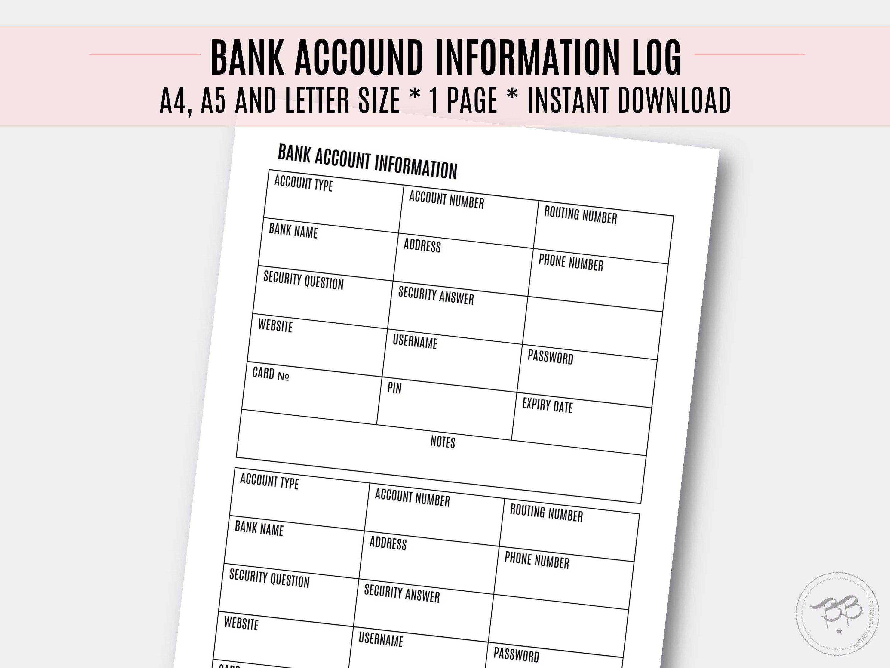 Bank Account Information Log Financial Tracker A4 A5
