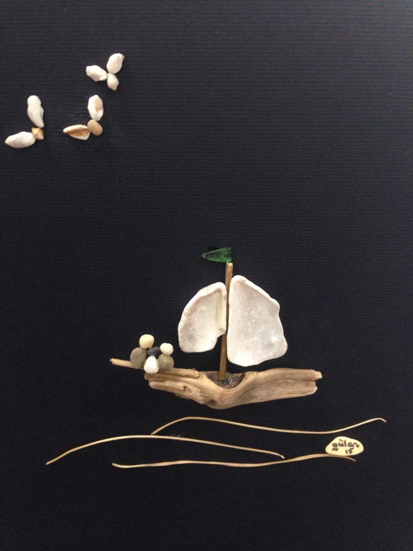 Pebble art sea glass sail boats by gülen