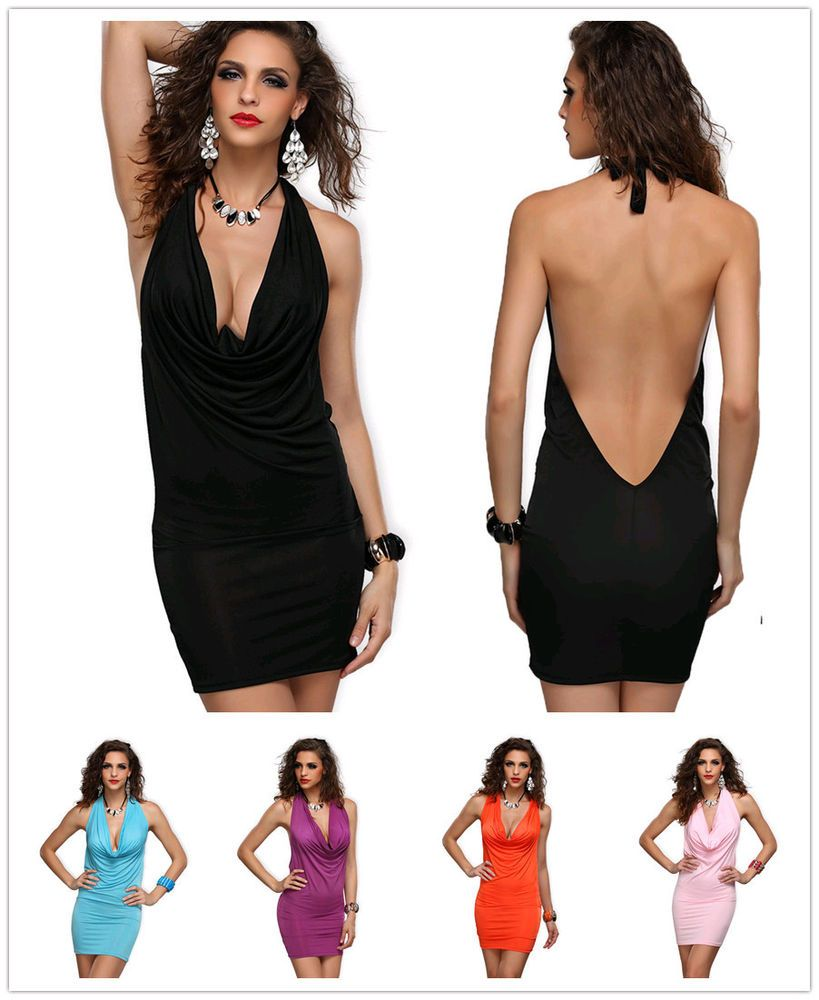 3e135b06fb3 Women Sexy Deep V Neck Halter Backless Party Club Cocktail Mini Dress  Lingerie  Unbranded  StretchBodycon  Cocktail