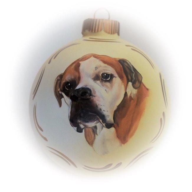 Handbemalte Christbaumkugeln.Bull Dog Memorial Pet Portraits Christmas Glass Ornaments Hand