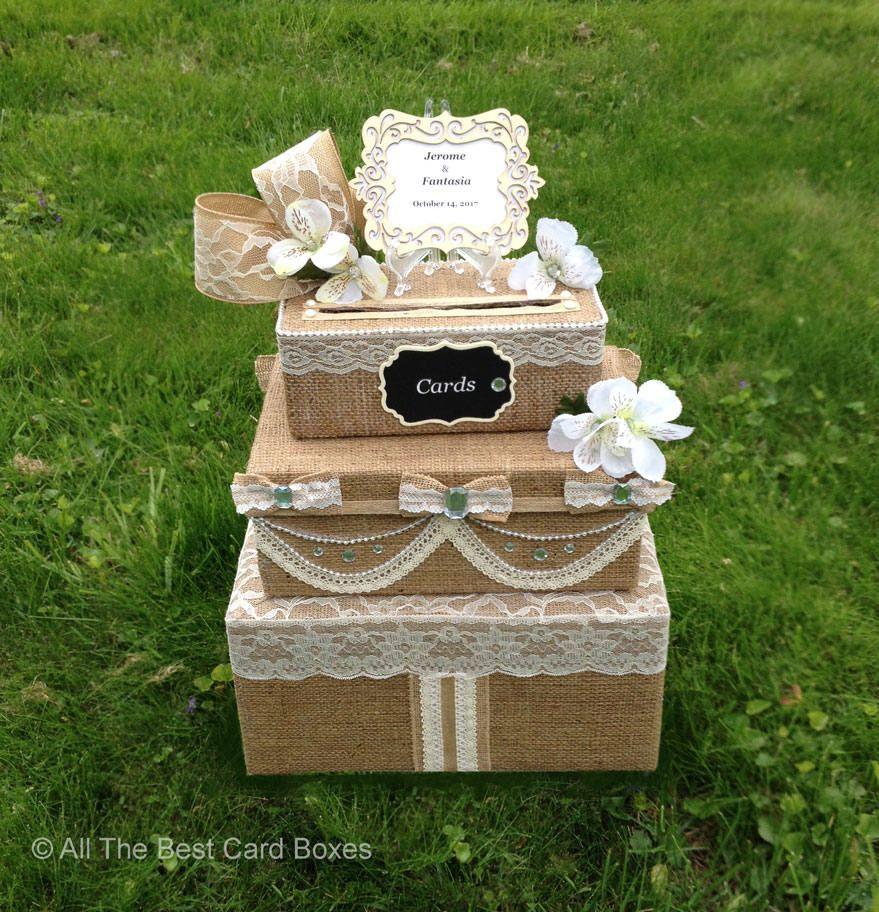 Cakes Favours Guest Books: Wedding Card Box,Wedding,Rustic Wedding,burlap Wedding