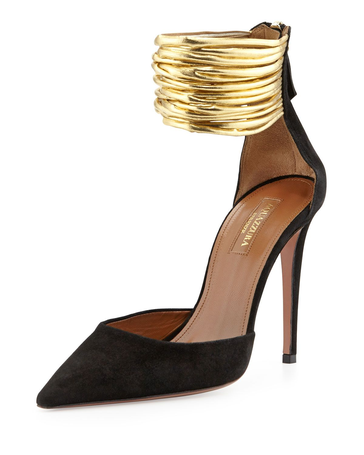 Hello Lover Suede Ankle-Strap Pump, Black | Gold bands, Ankle and ...