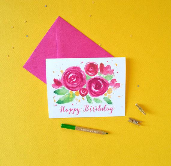 Floral Birthday Card Birthday Cards Happy by MospensStudio on Etsy