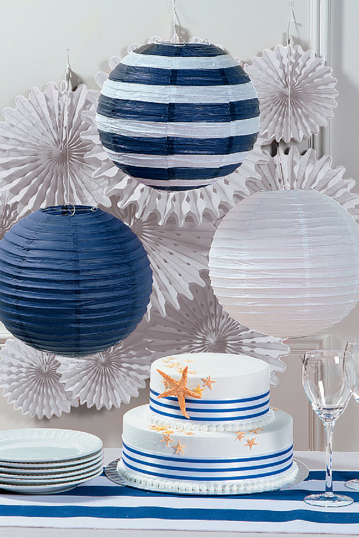 Wedding decorations to make  Add easy elegance to your nautical wedding with these paper lanterns