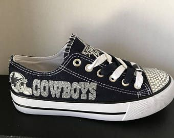 9841104c8c50 Dallas Cowboys Women s Canvas Tennis Shoes With Bling Glitter Please Read  Description Before ording