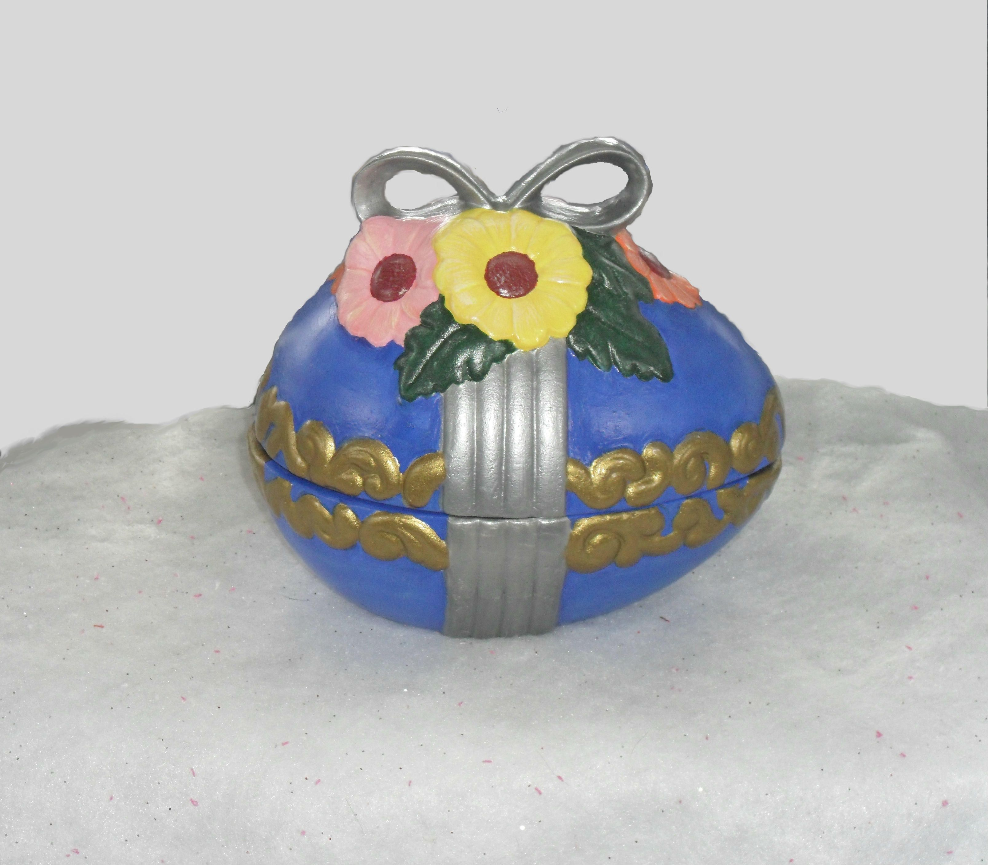 """The combined total dimensions of this beautiful ceramic box is approximately  6"""" tall x 6 1/2"""" long x 5"""" wide. The base of the box itself is a full 2"""" tall. Perfect for an Easter or Ostara themed gift box or basket. Please understand that this item is ..."""