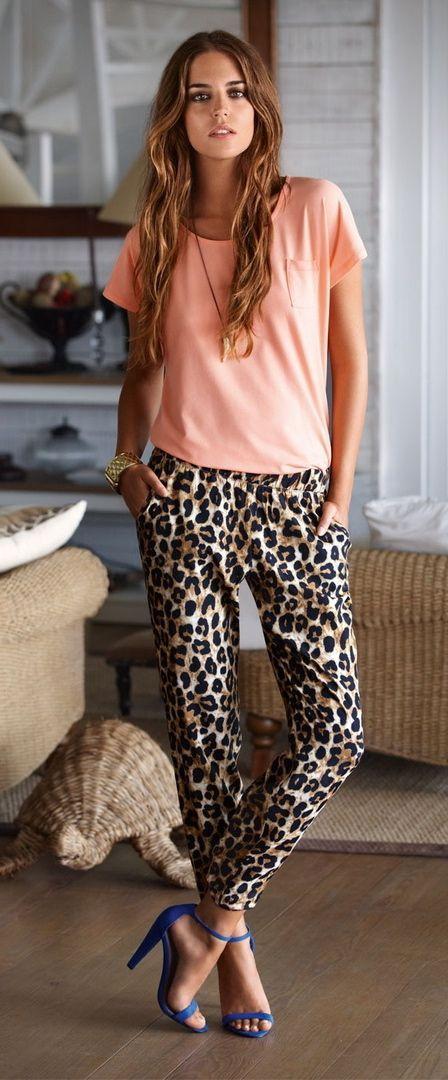 Peach tee + sabertooth necklace + leopard pants + cobalt strap heels