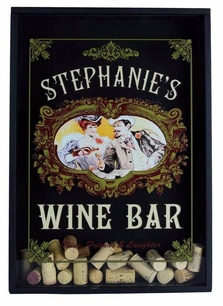 Personalized Lovers Wine Bar Cork Catcher Bar Man Cave Wall Decor ...