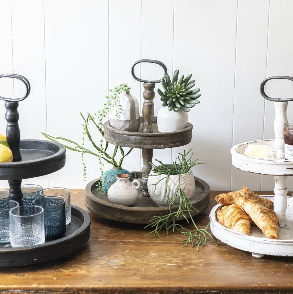 Round 2Tier Stand Ottoman/Coffee Table Serving Tray