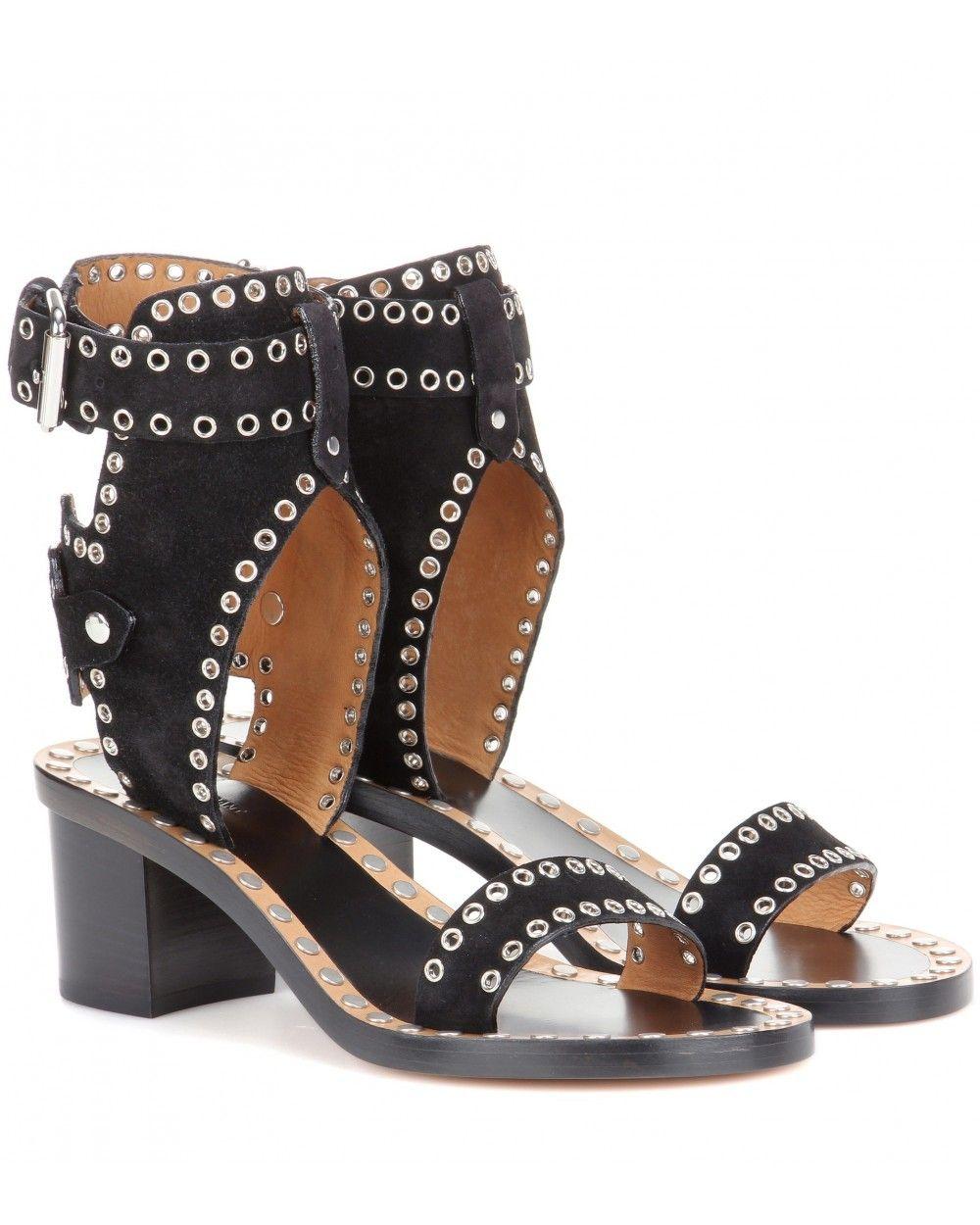 Isabel Marant Jaeryn Embellished Suede Sandals Black Isabel Marant Women Fashion Ss18 Sandals Lifes Bohemian Shoes Embellished Sandals Embellished Shoes