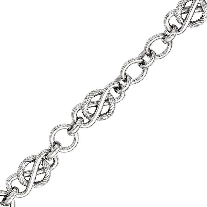 80mm entwined infinity and textured circle link bracelet