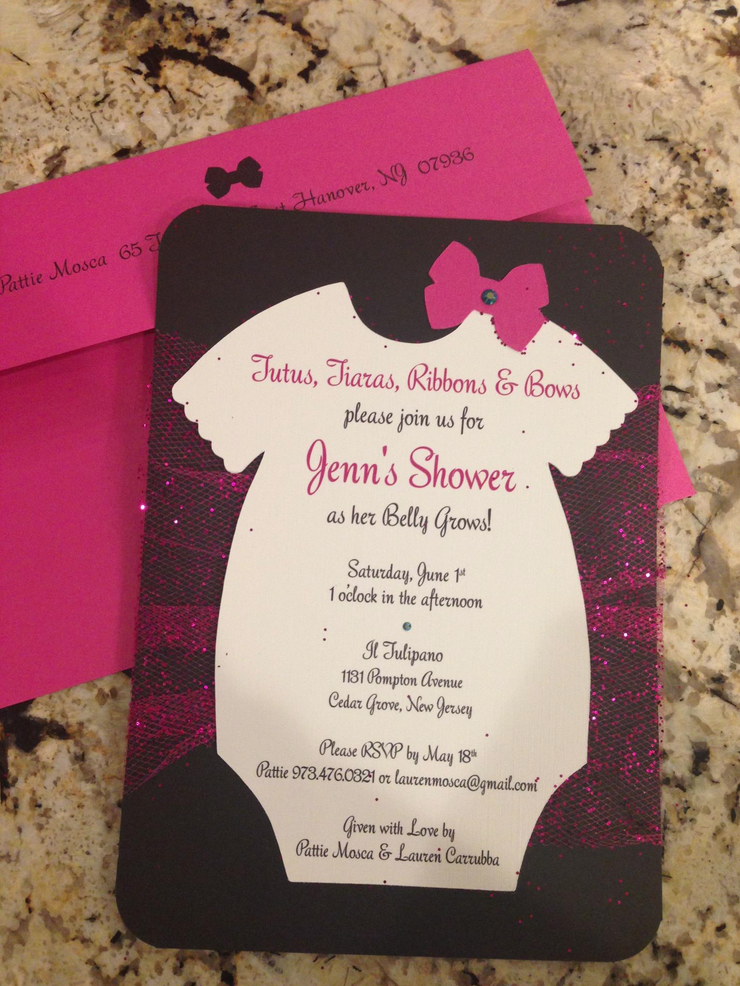 unique homemade baby shower invitation ideas%0A Items similar to Tutu  Onsies  Bows Handmade Baby Shower Invitation with  Glitter Toole  u     a Swarovski Crystal on Etsy