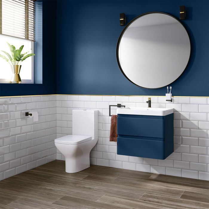 600mm Denver Ii Matte Blue Built In Basin Drawer Unit Wall Hung Blue Bathroom Bathroom Interior Blue Bathroom Walls