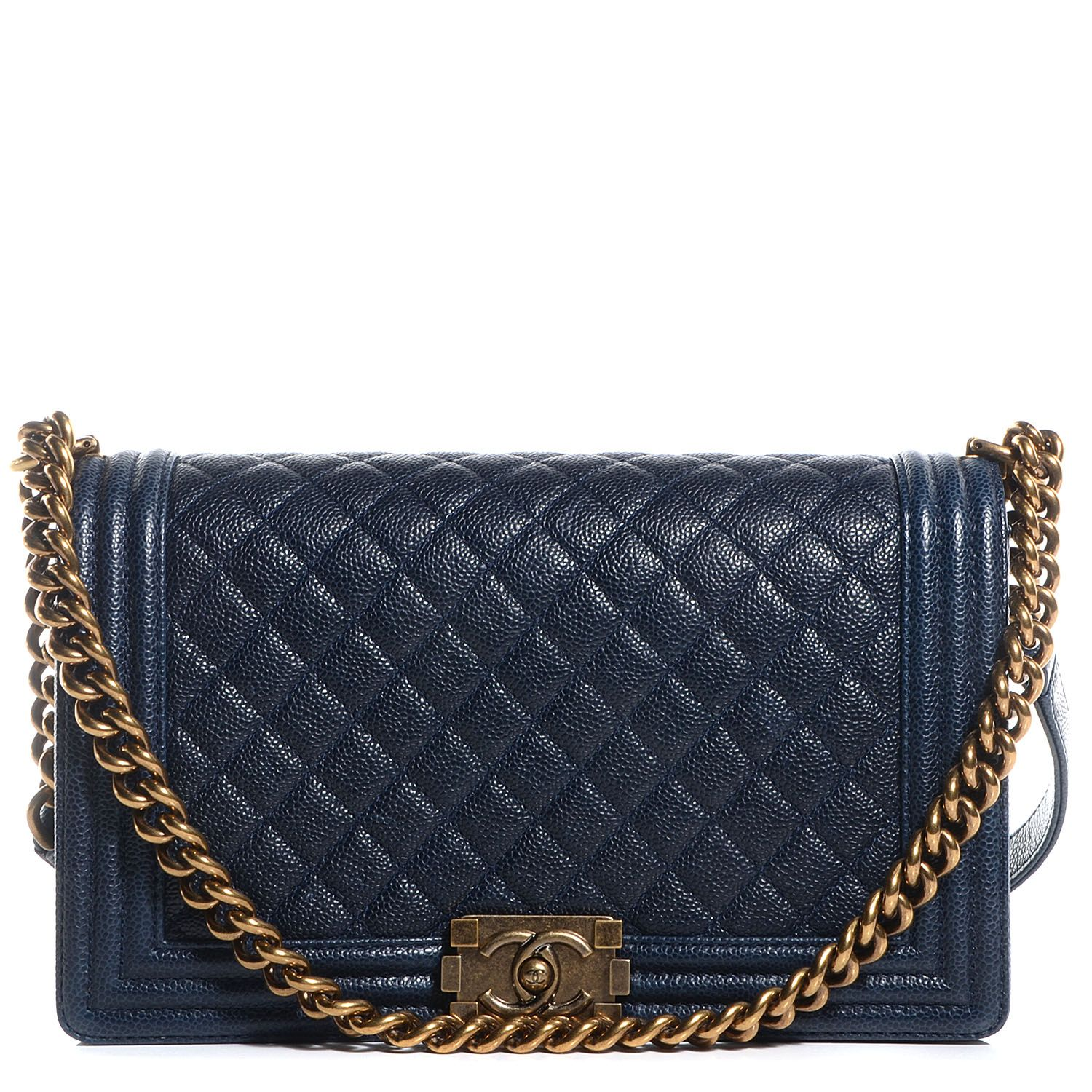 03e71af3b0 CHANEL Caviar Quilted New Medium Boy Flap Dark Navy Blue | Chanel ...
