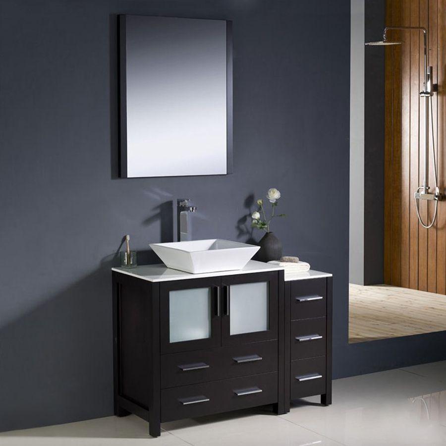 Fresca Bari Espresso Vessel Single Sink Bathroom Vanity With Ceramic