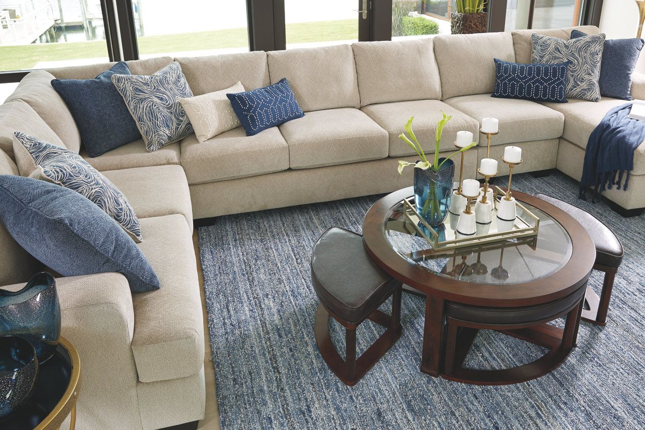 Marion coffee table with nesting stools ashley furniture