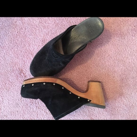 UGGS BLACK STUDDED CLOGS Comfy, clogs with studs. Slight heel. Good condition. UGG Shoes Mules & Clogs