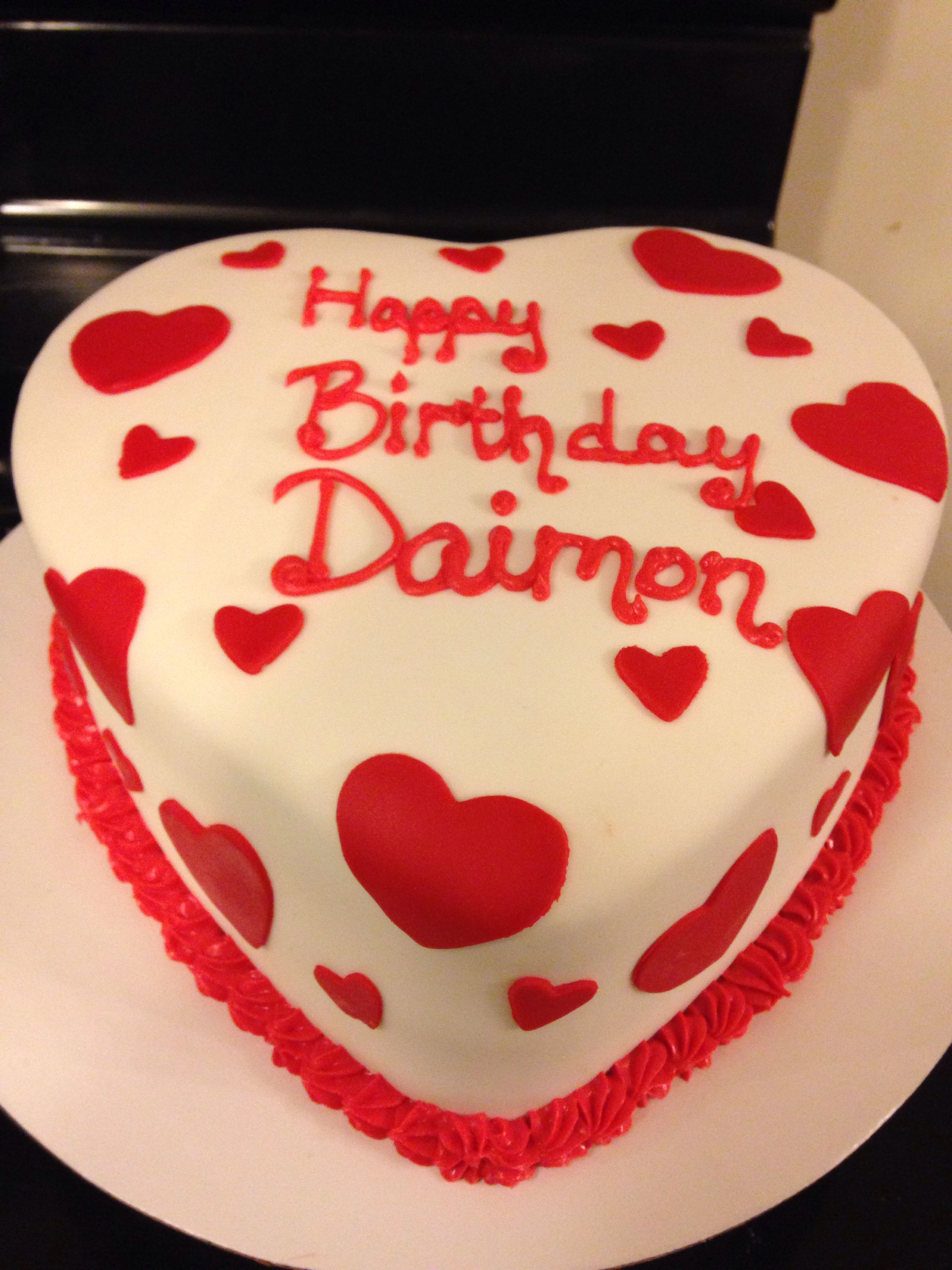 Heart Shaped Love Birthday Cake Our Custom Cakes Pinterest
