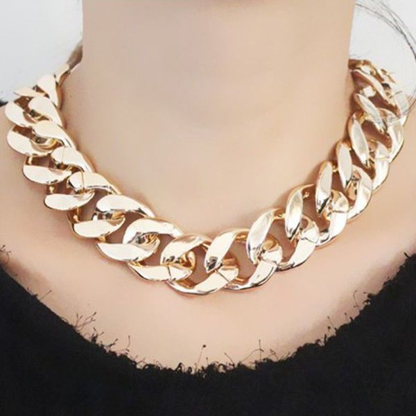 Chunky CCB Link Chain Choker Thick Curb Chain Statement Bib Necklace