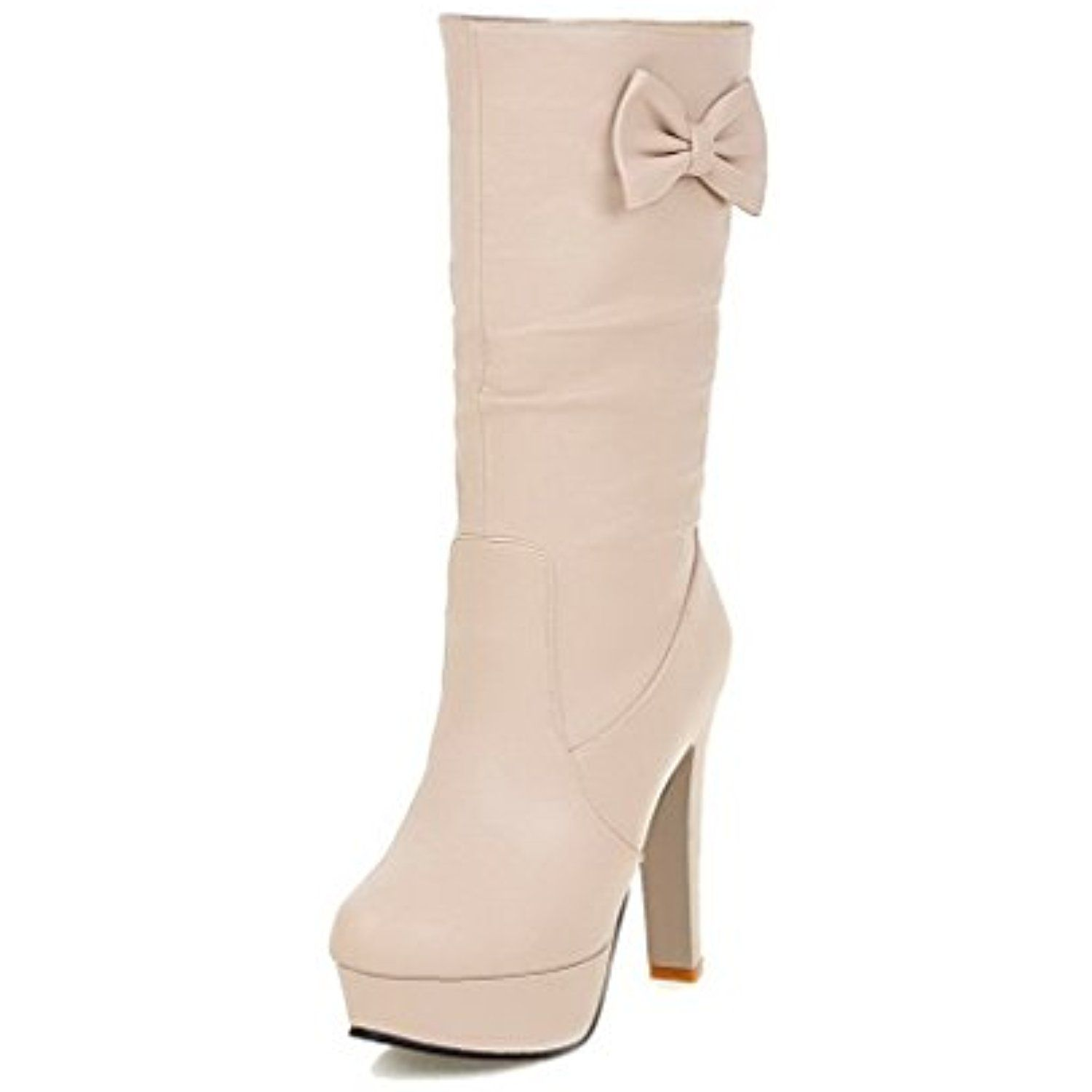 Women's Solid PU High-Heels Pull-on Closed Round Toe Boots