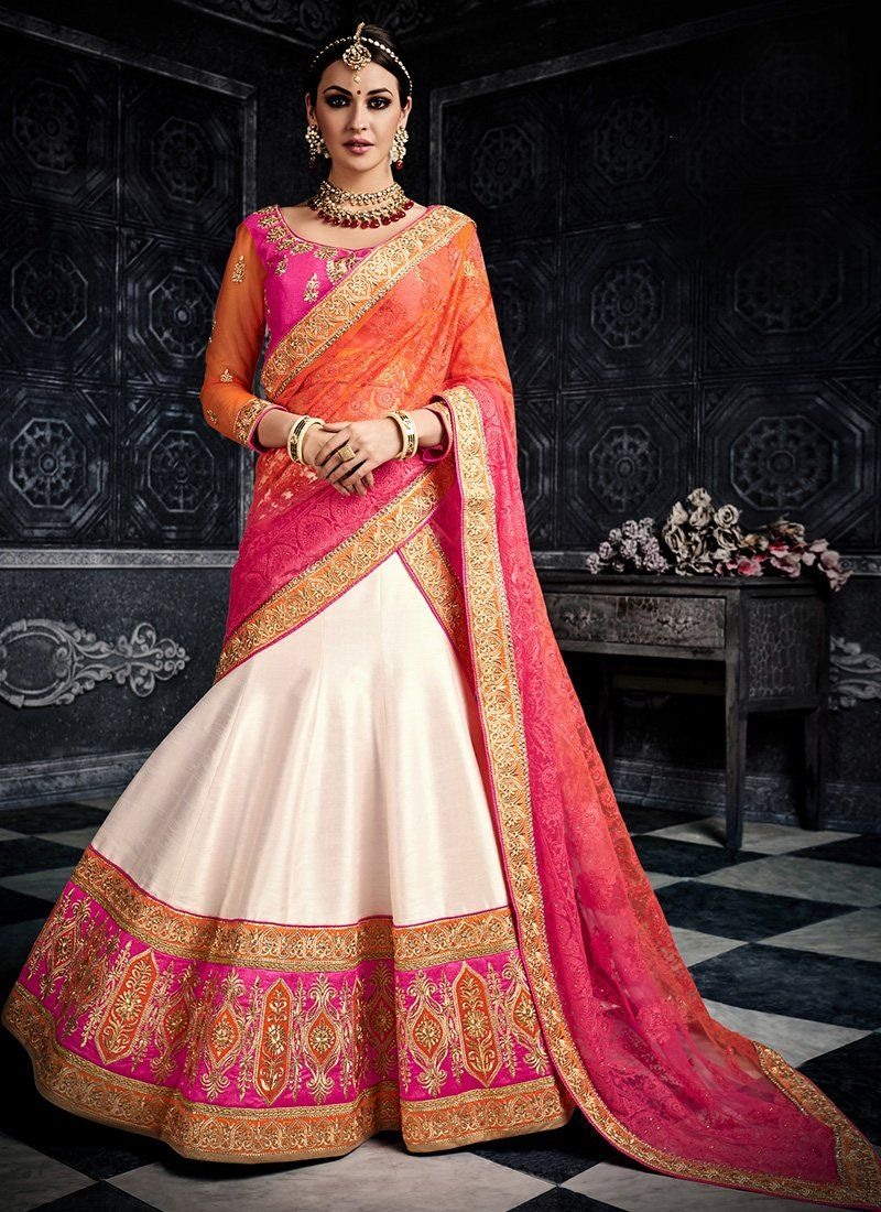 Multicolor Off White Heavy Embroidered Lehenga Features An Art Silk