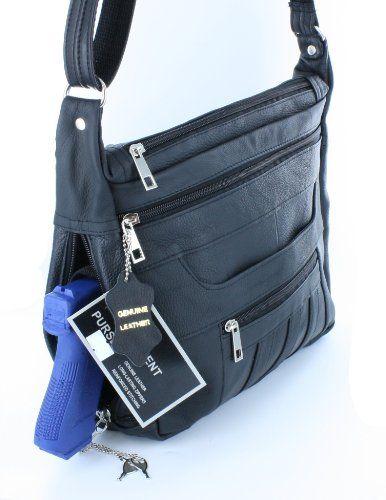f356915c56ba Amazon.com : Black Crossbody or Shoulder Carry Leather Locking ...
