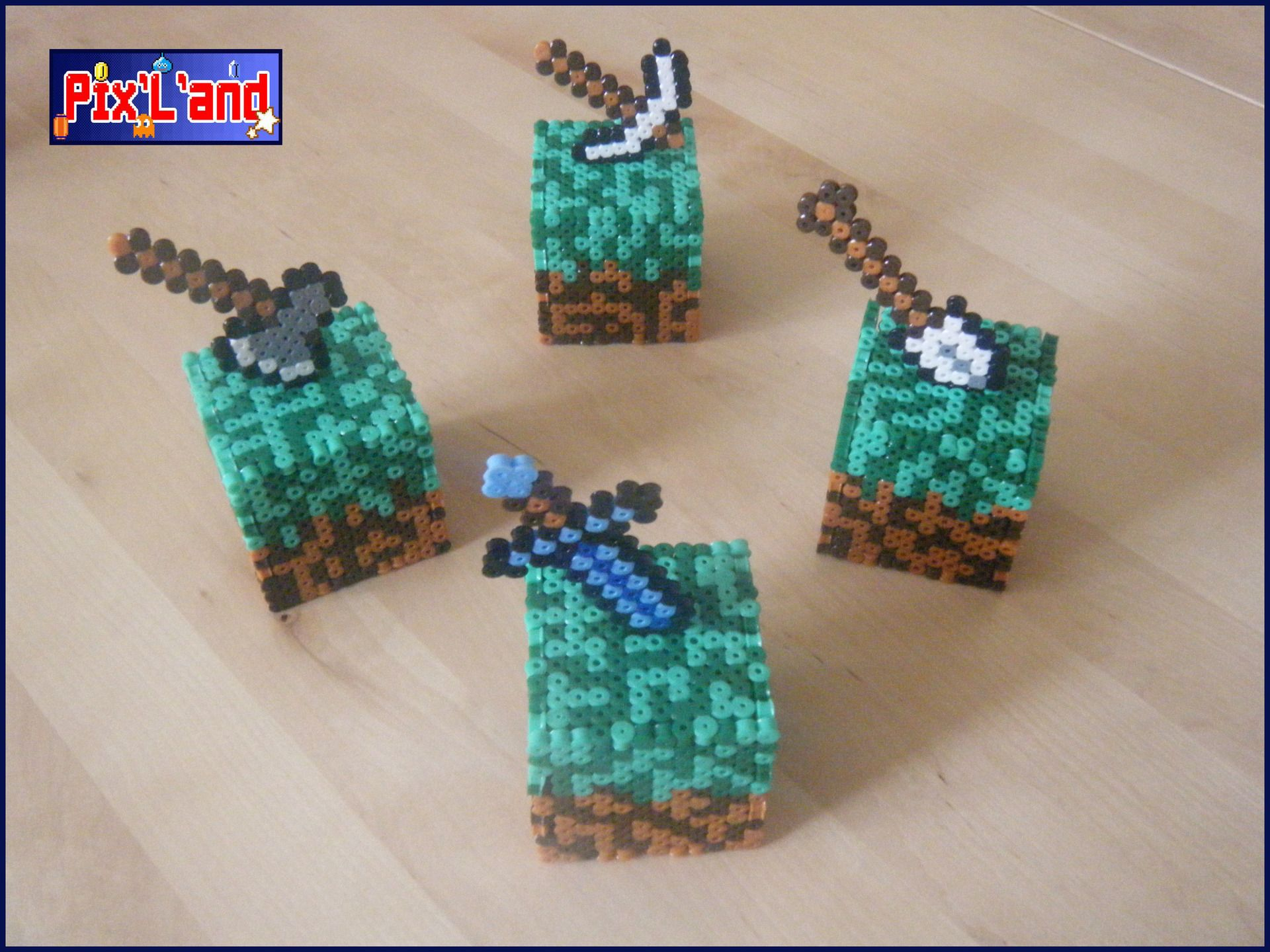 Boite déco Minecraft unitaire en perle Hama MiDi | Joan ...