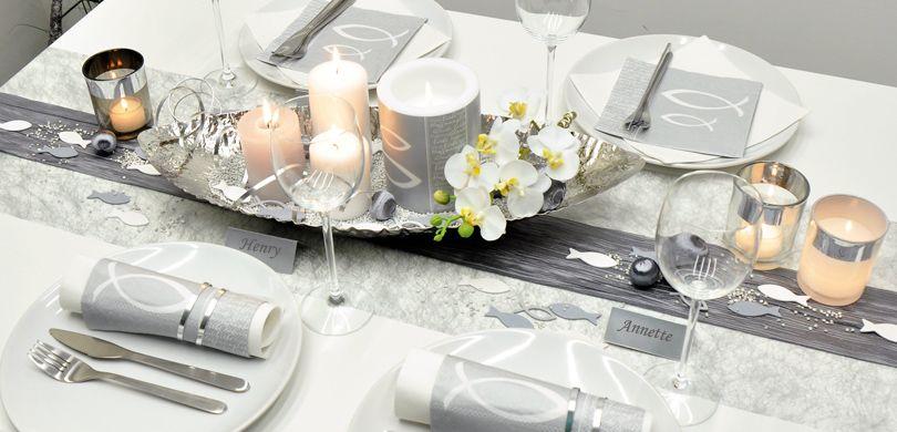 Moderne Tischdeko Zu Kommunion Und Konfirmation In Silber Mit Fisch