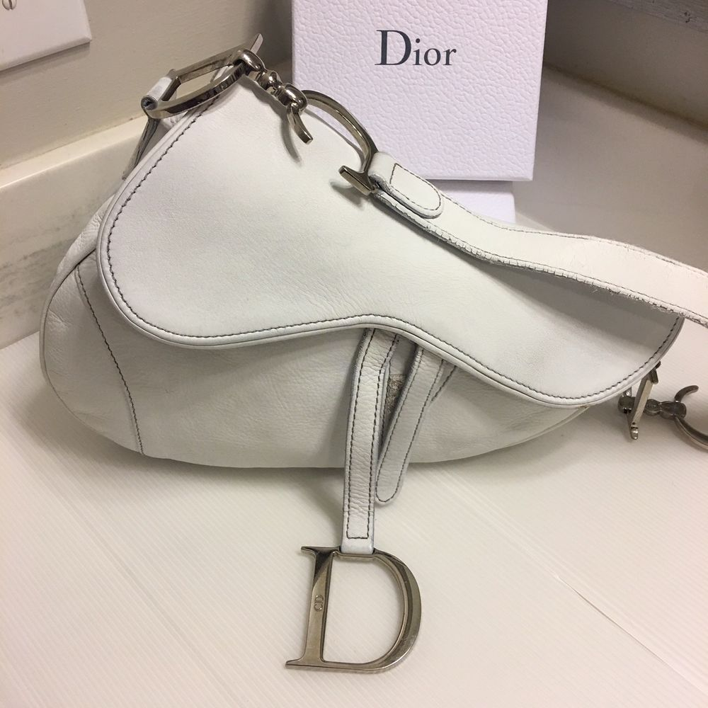 907770d7c8ce AUTH VINTAGE WHITE CHRISTIAN DIOR LEATHER SADDLE BAG  purses  fashion