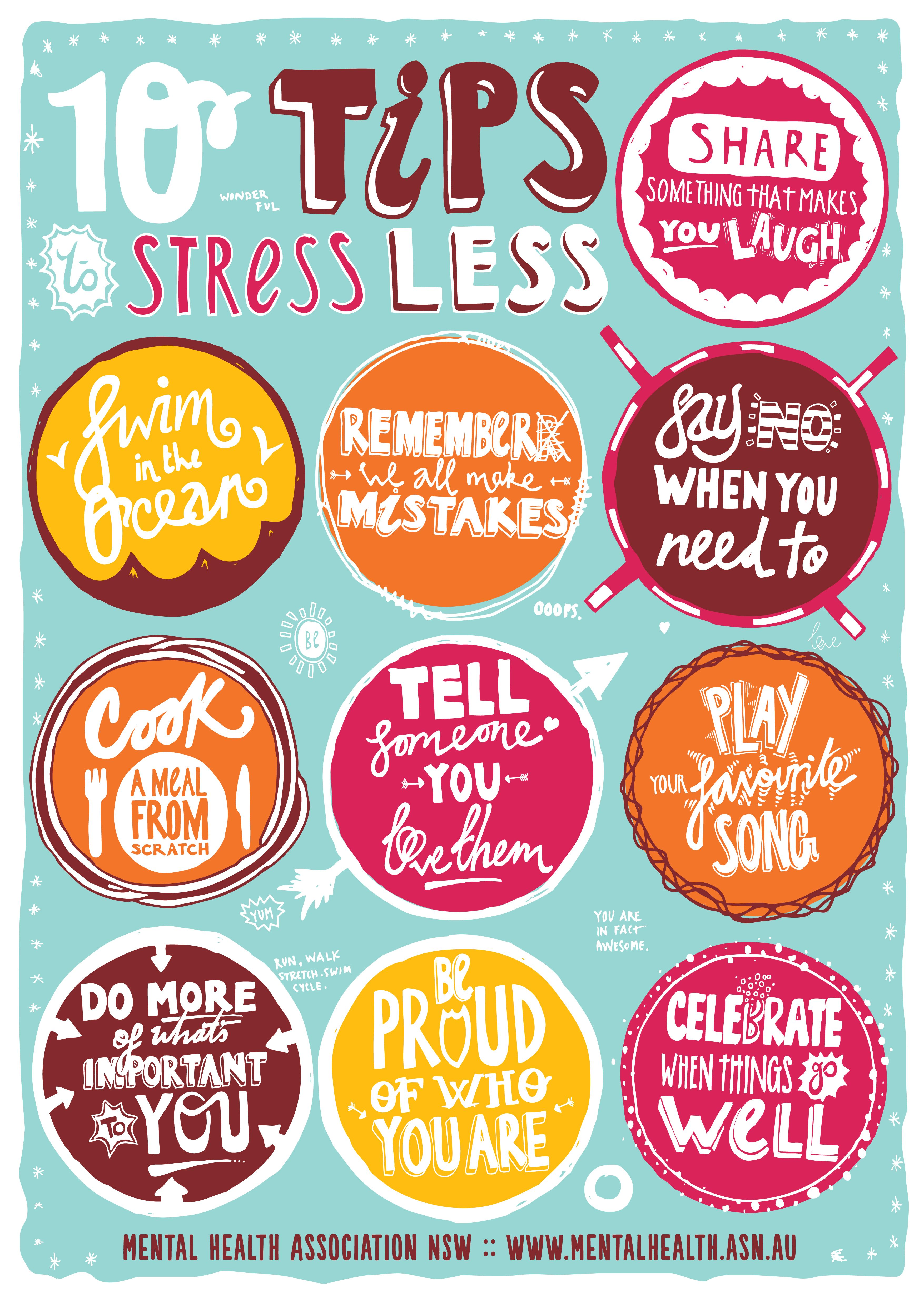 Stress less coloring by the shore - 10 Tips To Stress Less Mental Health Association Nsw