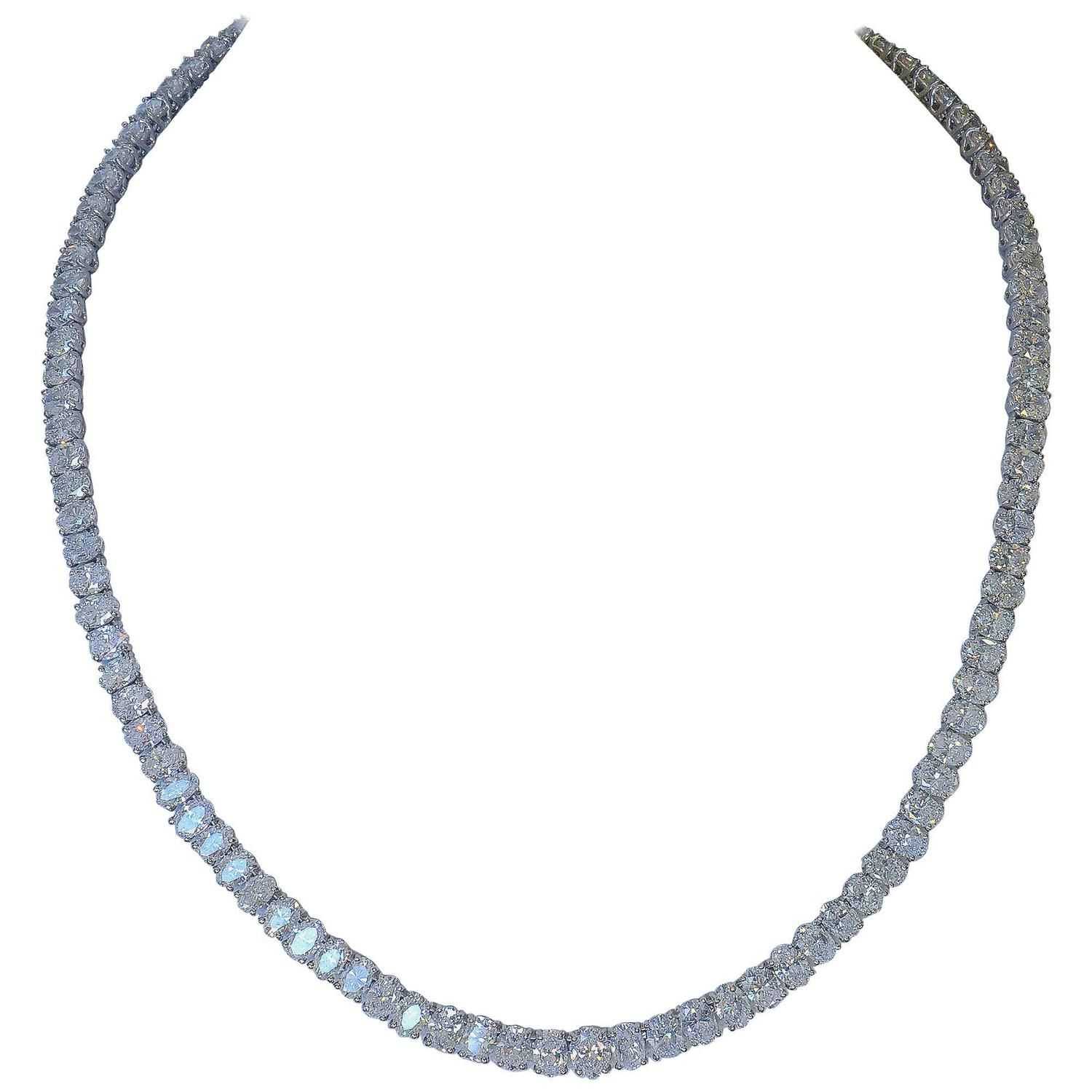 Harry Winston Diamond Platinum Necklace | From a unique collection of vintage more necklaces at https://www.1stdibs.com/jewelry/necklaces/more-necklaces/