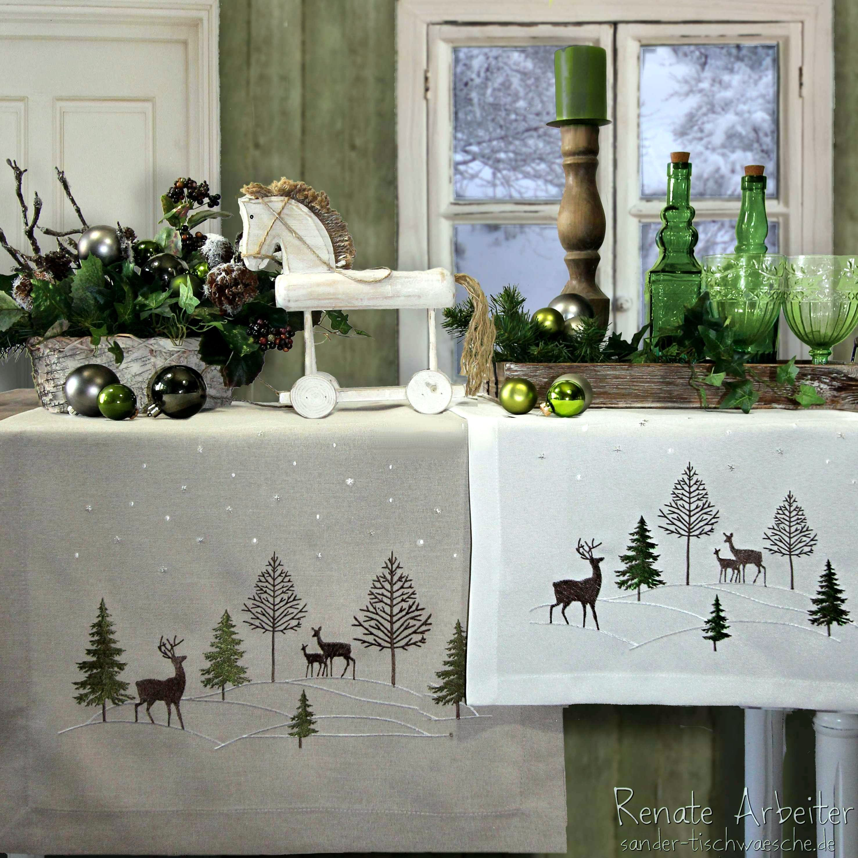 natur und verschiedene gr nt ne ergeben eine nat rliche weihnachtsdeko tischw sche von sander. Black Bedroom Furniture Sets. Home Design Ideas