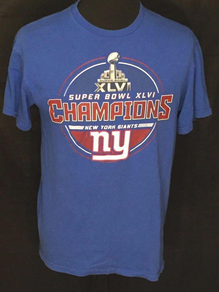 c44f832f3 New York Giants Super Bowl XLVI 46 Champions NFL Football Mens Large Blue  Shirt  DeltaProWeight  NewYorkGiants