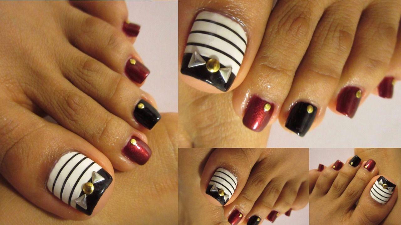 Diseño de uñas de los pies otoño/Cute fall design pedicure ...