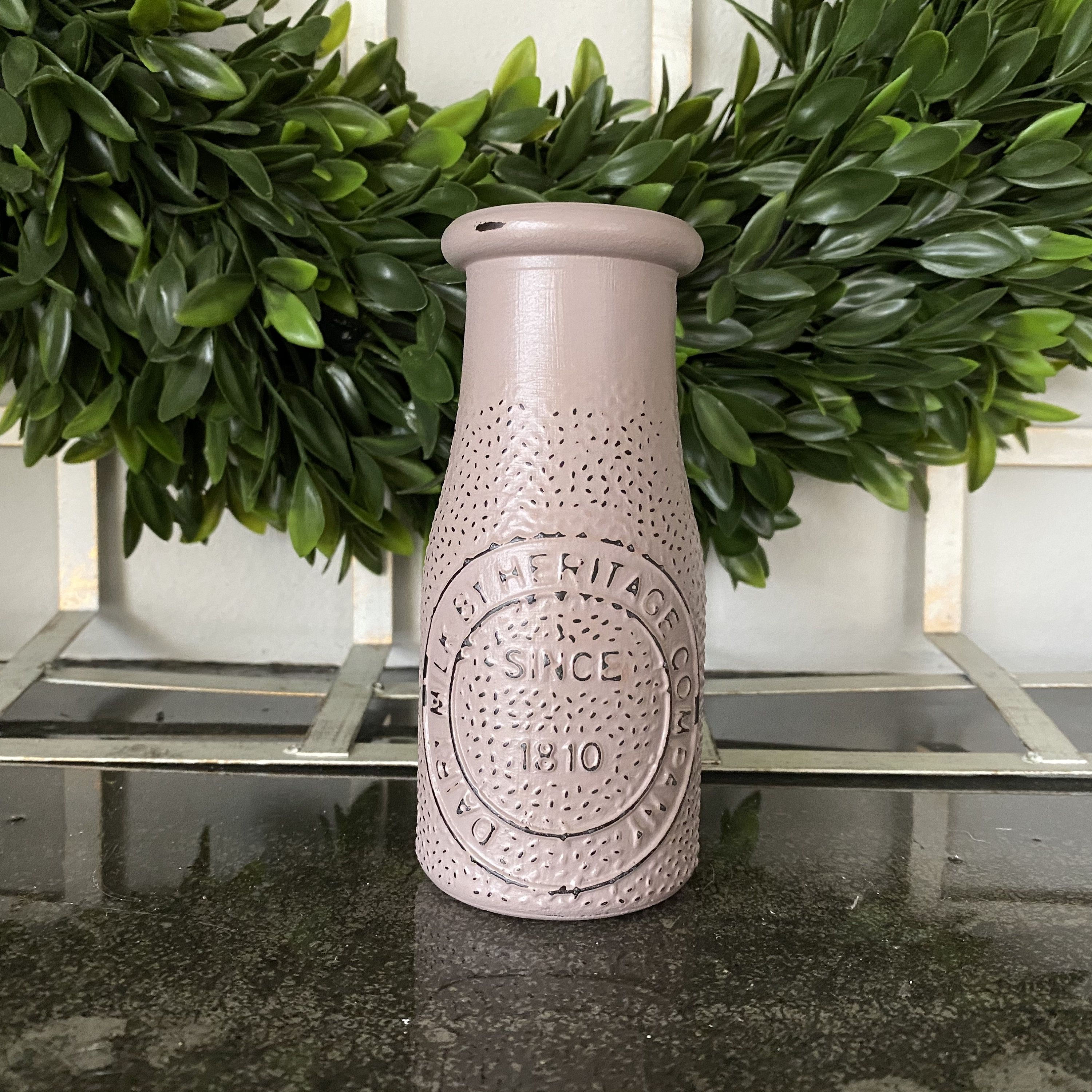 Rustic Distressed Heritage Dairy Bottle, Dusty Mauve