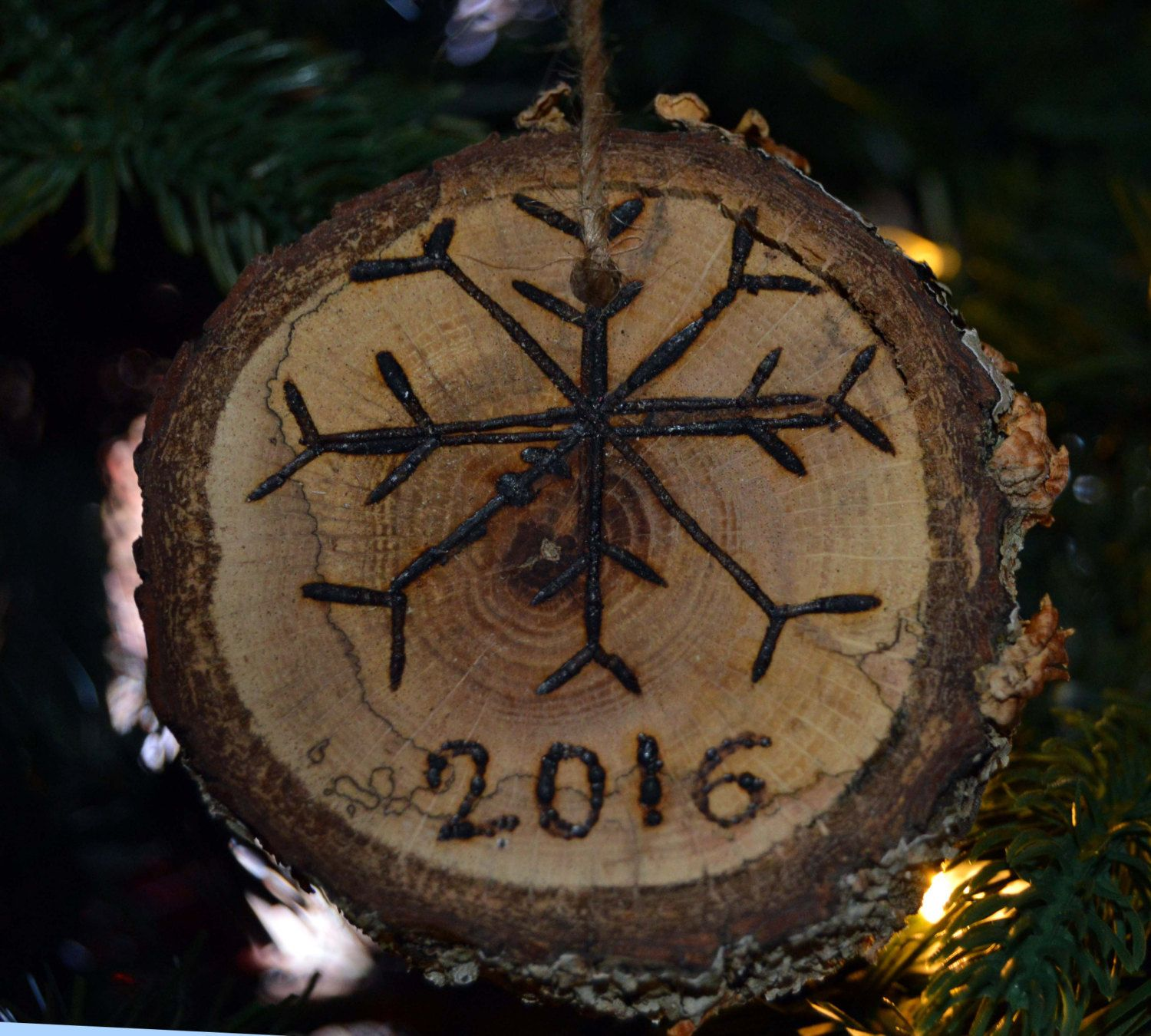 Wood slice ornament, 2016 wood burned ornament, rustic ornament, rustic Christmas, wood ornament, Christmas ornament, tree branch ornament by Artfulcastle on Etsy