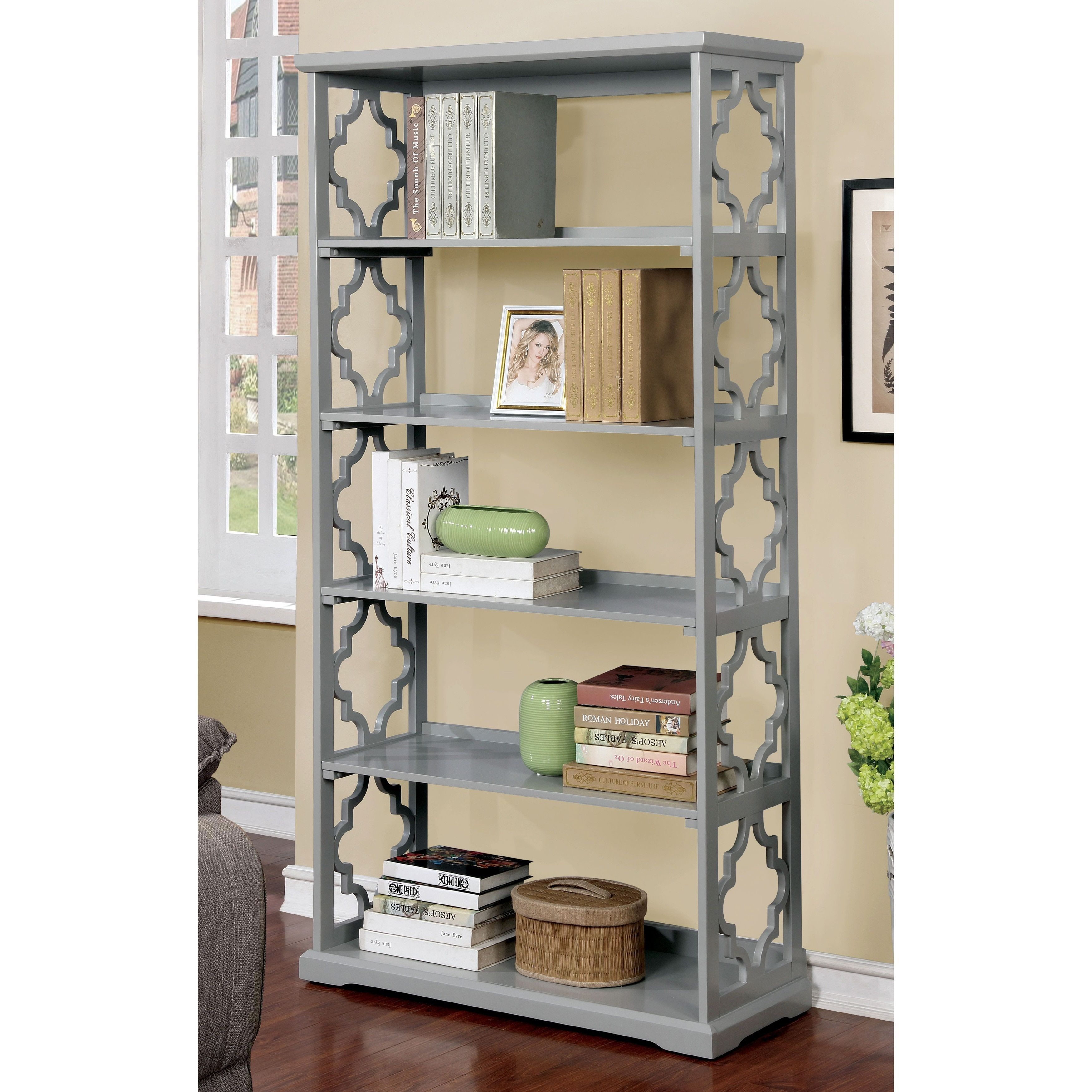 Furniture Of America Mina Contemporary Open 5 Tier Display Shelf (Gray)