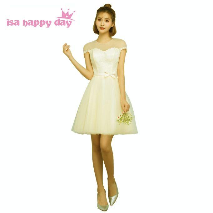 pretty cheap champagne color teens bridesmaid dresses ball gown ...
