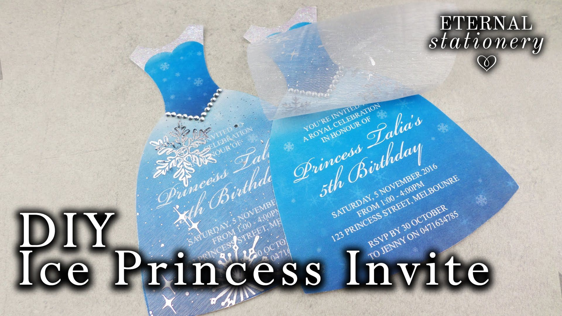 How to make an ice princess dress invitation diy kids party how to make an ice princess dress invitation diy kids party invitations stopboris Image collections