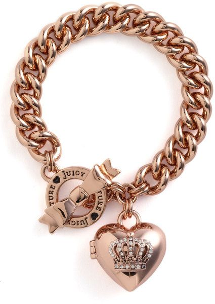 Juicy Couture Crown Icons Heart Locket Bracelet in Pink rose gold